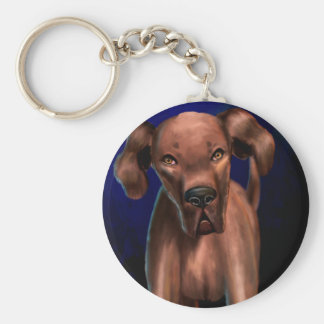 Painting of a Big Brown Dog Looking Directly at Yo Keychain