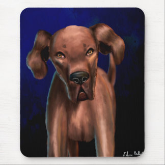 Painting of a Big Brown Dog Looking Directly at Yo Mouse Pad