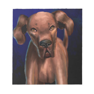 Painting of a Big Brown Dog Looking Directly at Yo Note Pad