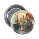 Painting Of A Boat Tied To A Wharf 2 Inch Round Button