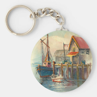 Painting Of A Boat Tied To A Wharf Basic Round Button Keychain