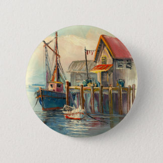Painting Of A Boat Tied To A Wharf Button