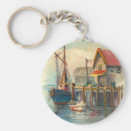 Painting Of A Boat Tied To A Wharf Keychain