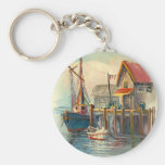 Painting Of A Boat Tied To A Wharf Keychains