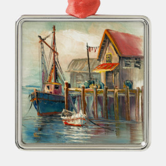 Painting Of A Boat Tied To A Wharf Christmas Tree Ornaments