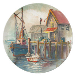 Painting Of A Boat Tied To A Wharf Plate