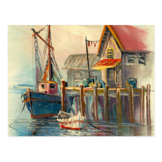 Painting Of A Boat Tied To A Wharf Postcard