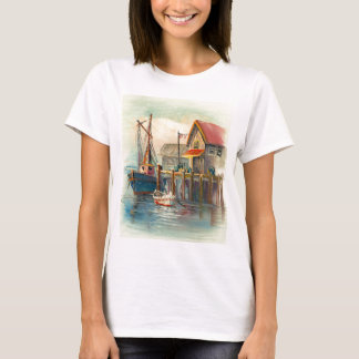 Painting Of A Boat Tied To A Wharf T-Shirt