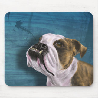 Painting of a Bulldog with Brown and White Coat Mouse Pad