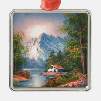Painting Of A Cabin Along A Mountain River Metal Ornament