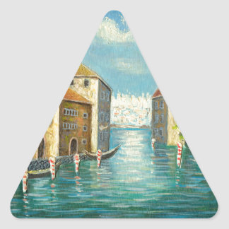 Painting Of A City Waterway Stickers
