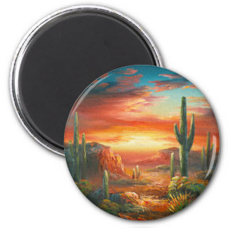 Painting Of A Colorful Desert Sunset Painting 2 Inch Round Magnet