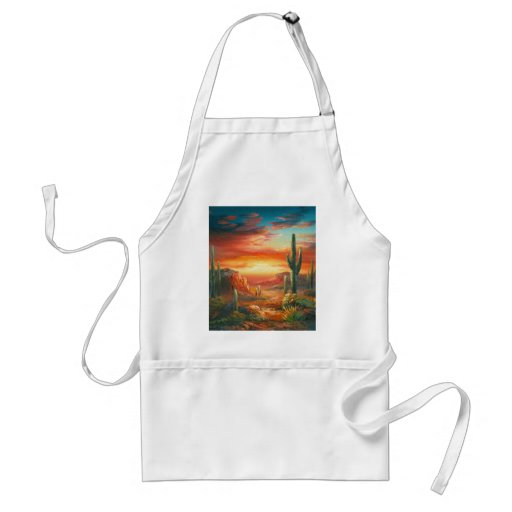 Painting Of A Colorful Desert Sunset Painting Aprons