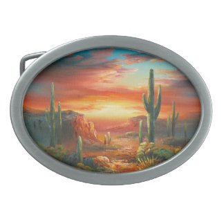 Painting Of A Colorful Desert Sunset Painting Oval Belt Buckles