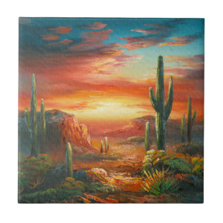 Painting Of A Colorful Desert Sunset Painting Ceramic Tile