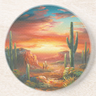 Painting Of A Colorful Desert Sunset Painting Drink Coaster