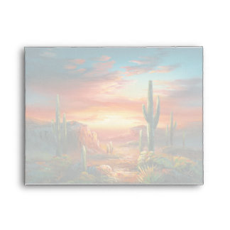 Painting Of A Colorful Desert Sunset Painting Envelopes