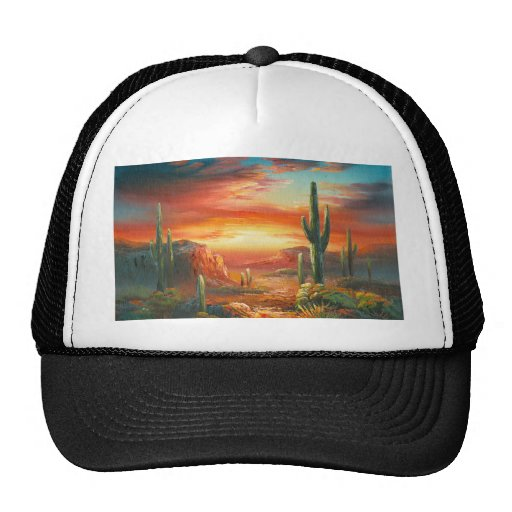 Painting Of A Colorful Desert Sunset Painting Trucker Hat