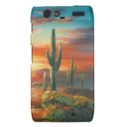 Painting Of A Colorful Desert Sunset Painting Motorola Droid RAZR Cover