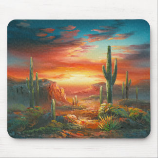 Painting Of A Colorful Desert Sunset Painting Mouse Pads