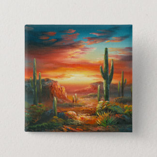 Painting Of A Colorful Desert Sunset Painting Pinback Button