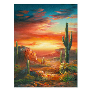 Painting Of A Colorful Desert Sunset Painting Postcard