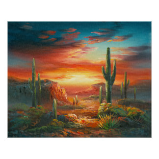 Painting Of A Colorful Desert Sunset Painting Poster