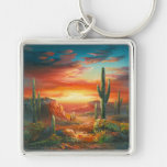Painting Of A Colorful Desert Sunset Painting Silver-Colored Square Keychain