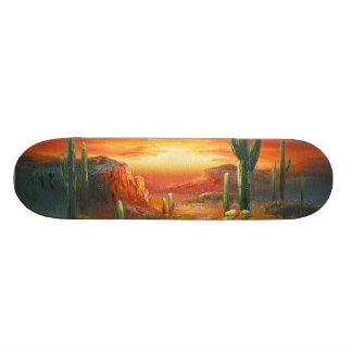 Painting Of A Colorful Desert Sunset Painting Skateboard Deck