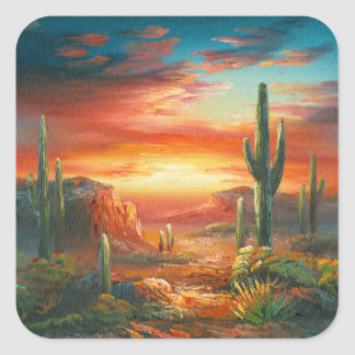 Painting Of A Colorful Desert Sunset Painting Square Sticker