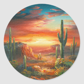 Painting Of A Colorful Desert Sunset Painting Stickers
