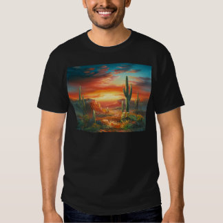 Painting Of A Colorful Desert Sunset Painting T-shirts
