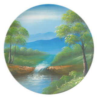 Painting Of A Creek In The Summer Plate