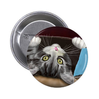 Painting of a Cute Grey Kitten in an Blue Box Button