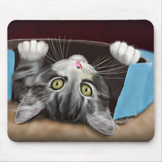 Painting of a Cute Grey Kitten in an Blue Box Mouse Pad