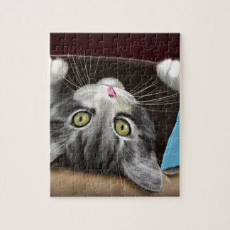 Painting of a Cute Grey Kitten in an Blue Box Puzzle