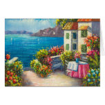 Painting Of A European Seaside Patio Greeting Card
