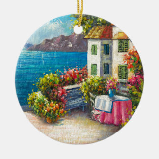 Painting Of A European Seaside Patio Double-Sided Ceramic Round Christmas Ornament