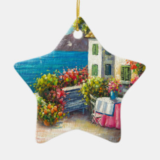 Painting Of A European Seaside Patio Double-Sided Star Ceramic Christmas Ornament