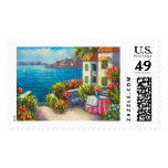 Painting Of A European Seaside Patio Postage Stamp