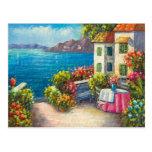 Painting Of A European Seaside Patio Postcard