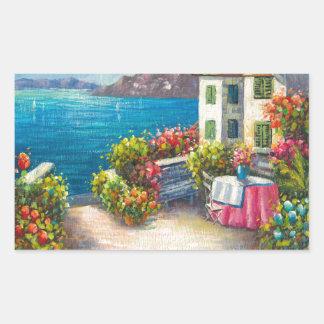 Painting Of A European Seaside Patio Rectangular Sticker