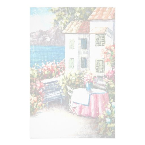 Painting Of A European Seaside Patio Stationery Design