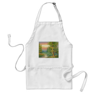 Painting Of A Fall River Scene Adult Apron