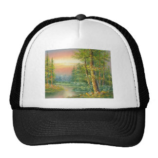 Painting Of A Fall River Scene Hat