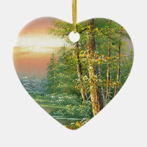 Painting Of A Fall River Scene Double-Sided Heart Ceramic Christmas Ornament