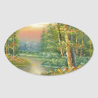 Painting Of A Fall River Scene Oval Sticker