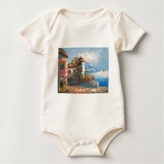 Painting Of A Fancy European Villa Baby Bodysuit
