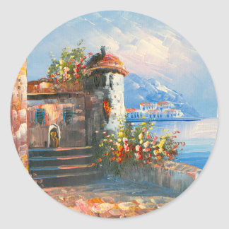 Painting Of A Fancy European Villa Classic Round Sticker