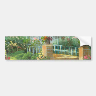 Painting Of A Flower Covered Gazebo In Summer Bumper Sticker